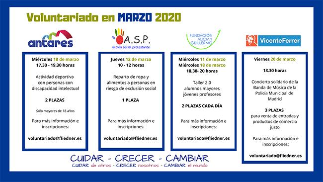 Calendario actividades Voluntariado maroz 2020