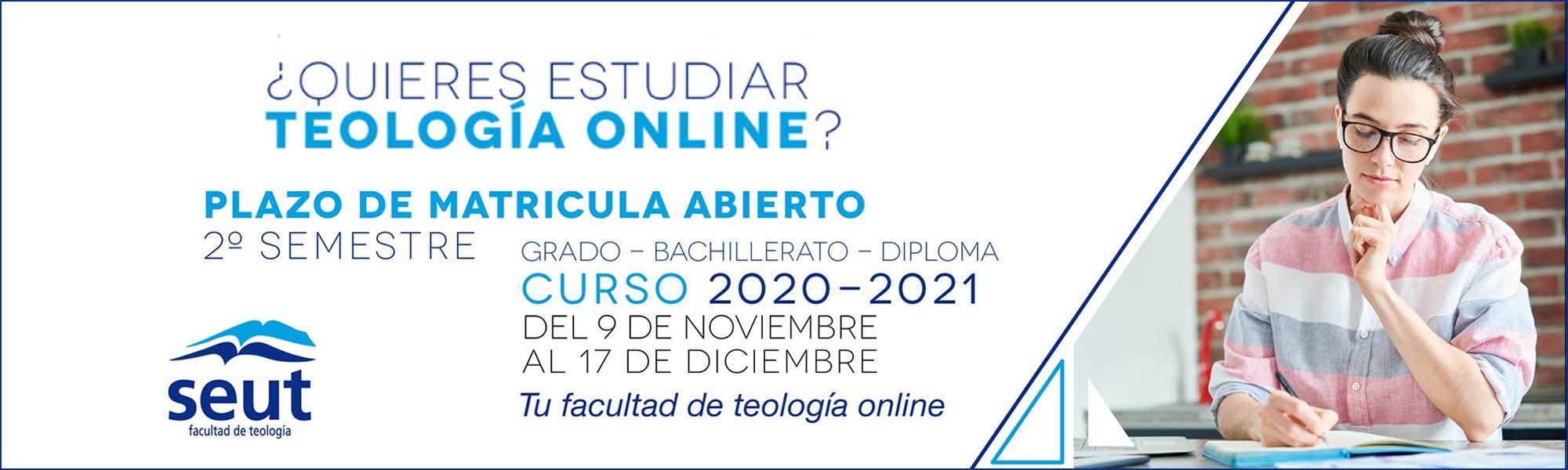 Matrícula Grado en Teología 2º trimestre 2020-2021