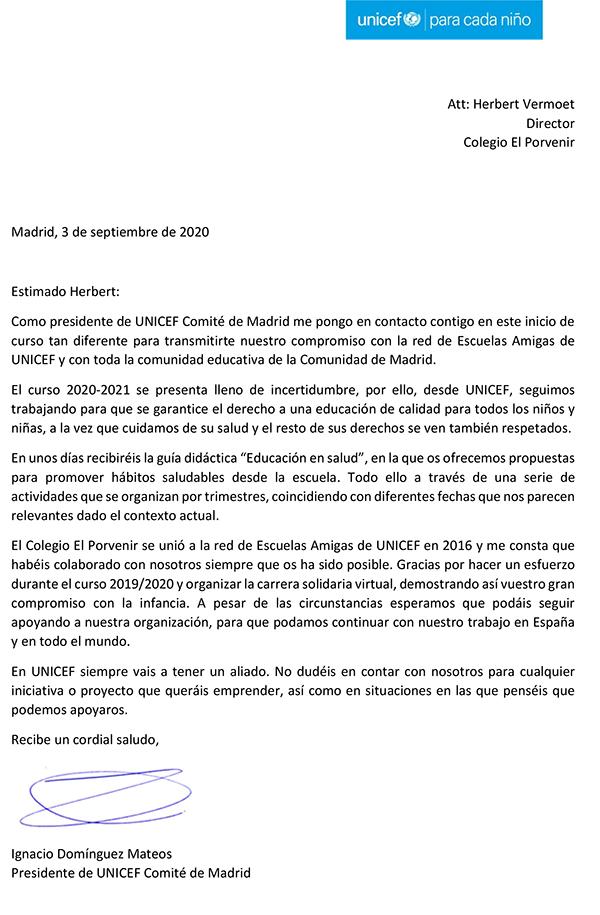 Carta de agradecimiento del Pte. UNICEF Comité de Madri