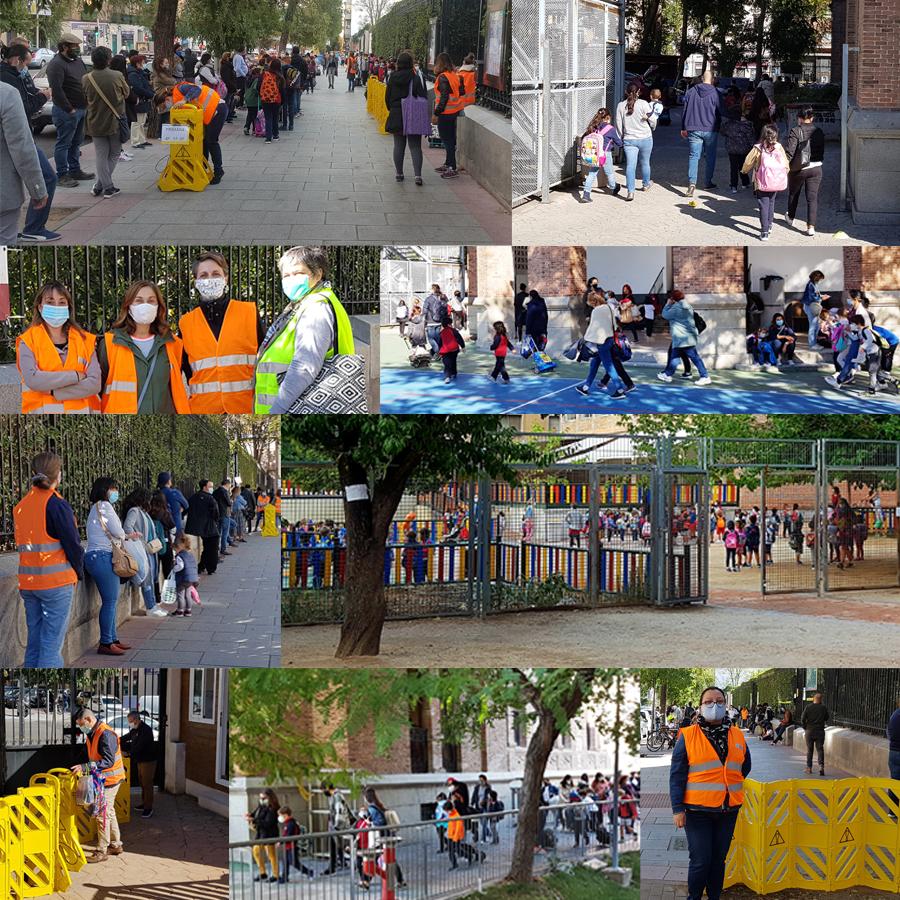 Entrada y salida del colegio con el trabajo y colaboración de familias, personal y voluntarios