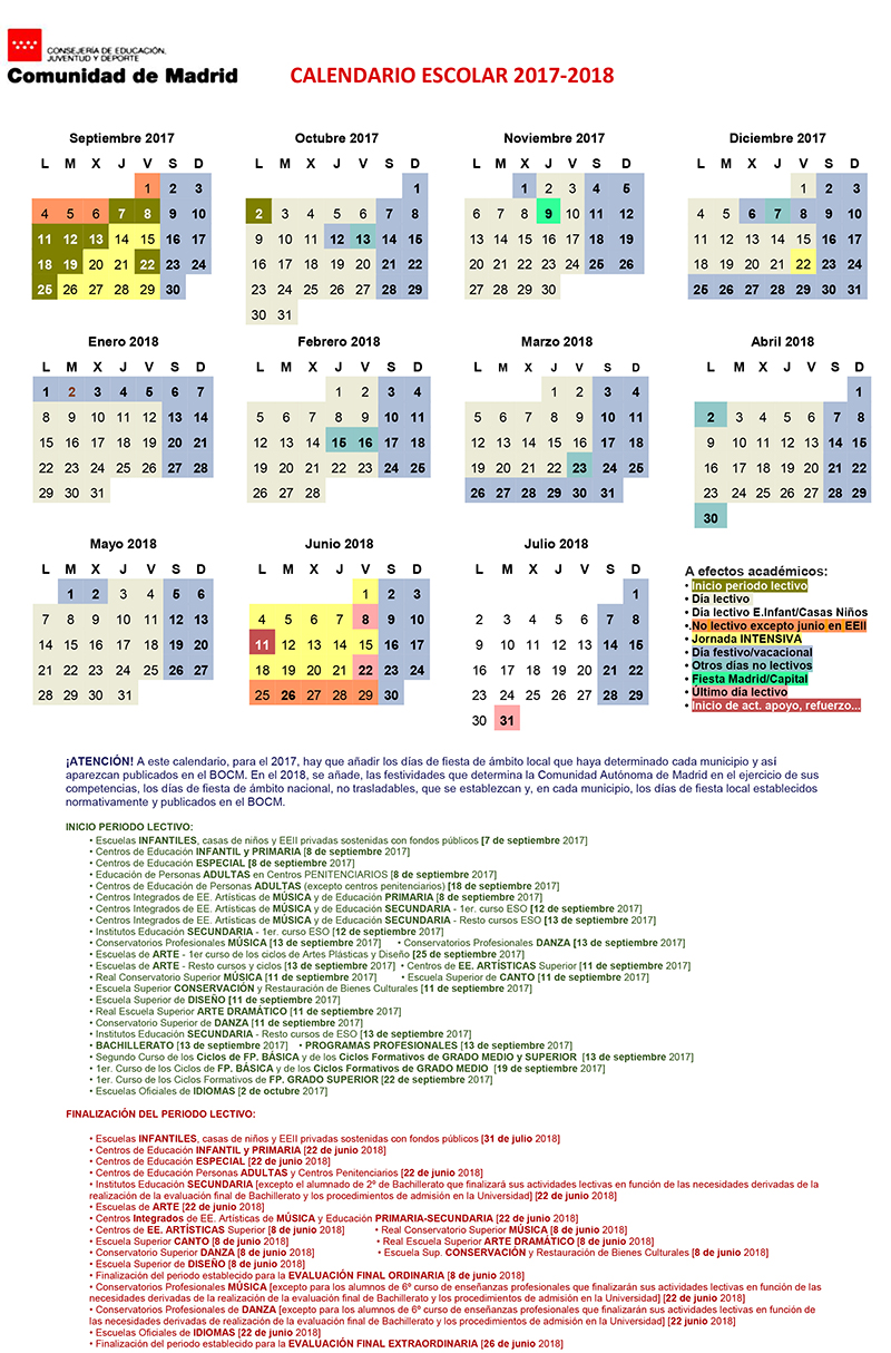 Calendario escolar for Calendario eventos madrid