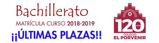 Bachillerato El Porvenir  Matrícula curso 2018-2019