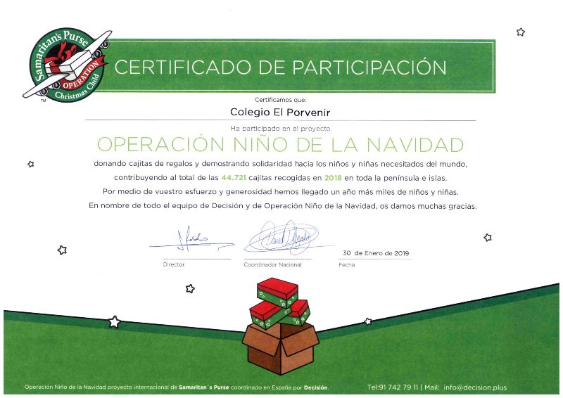 Certificado de participación Operación Niño de la Navidad 2018