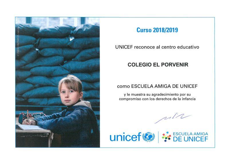 Diploma El Porvenir Escuela Amiga de UNICEF 2018-2019