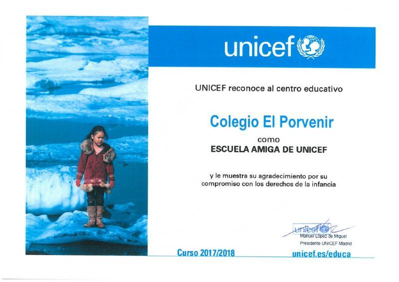 Diploma de reconocimiento a El Porvenir como ESCUELA AMIGA DE UNICEF por su apoyo a la infancia