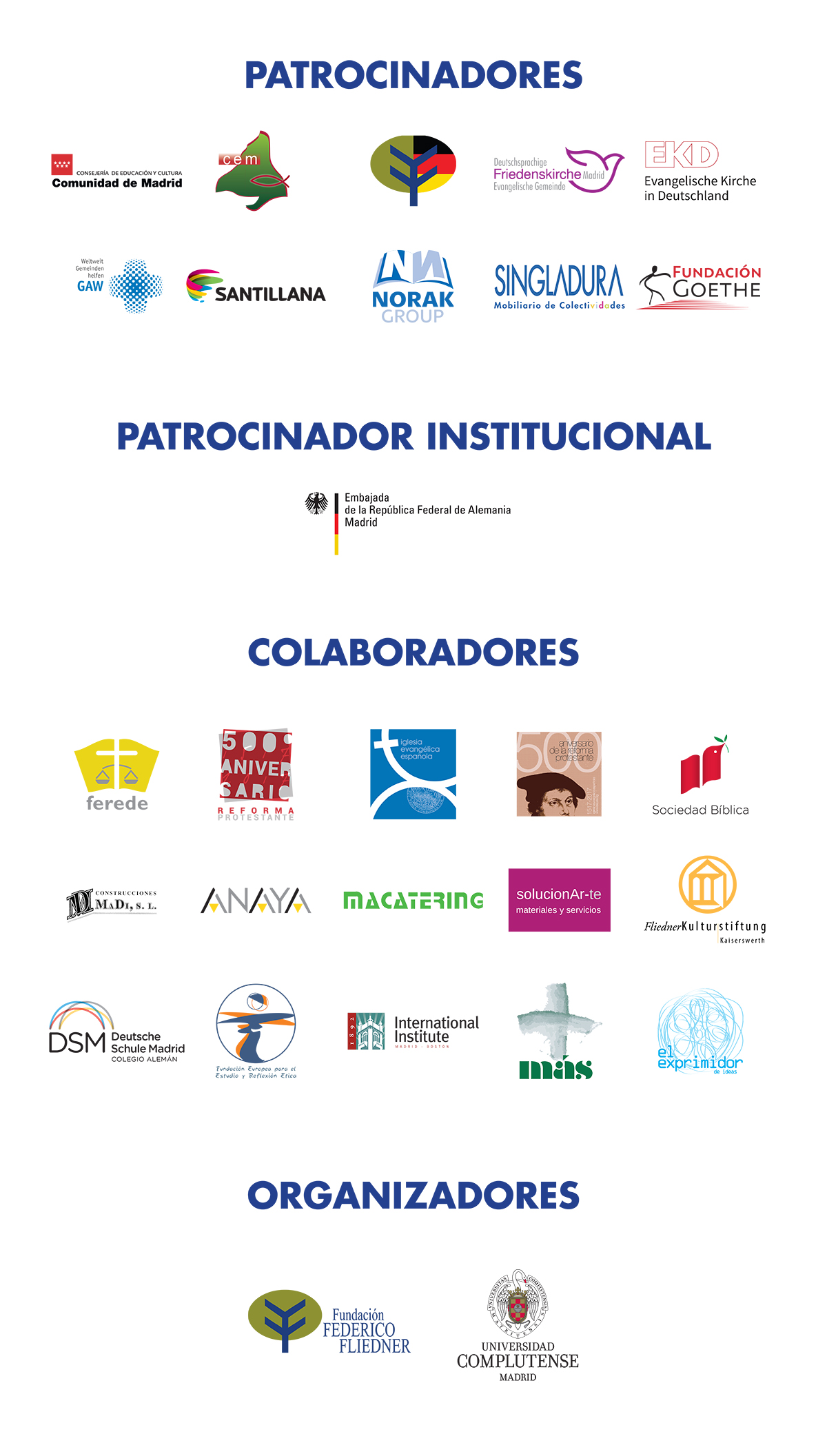 Patrocinadores, colaboradores y organizadores