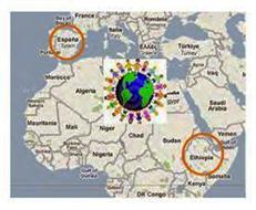 Mapa de Etiopía y España