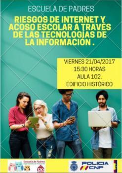 Próxima Escuela de Padres 2016-2017: Riesgos de Internet y Acoso Escolar a través de las Tecnologías de la Información