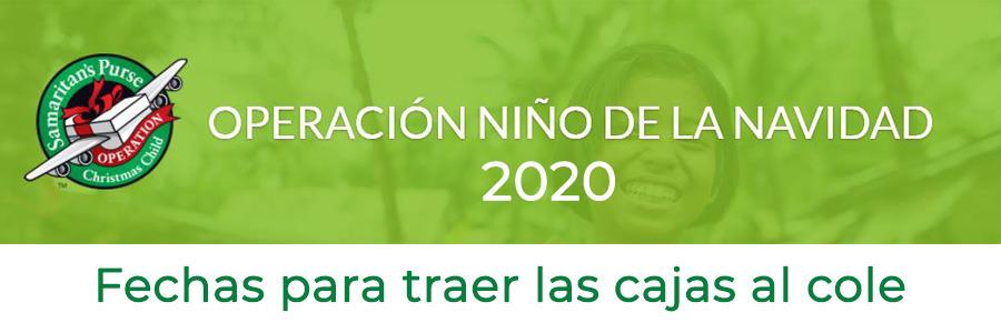 Os recordamos las fechas de entrega de las cajas Operación Niño de la Navidad 2020
