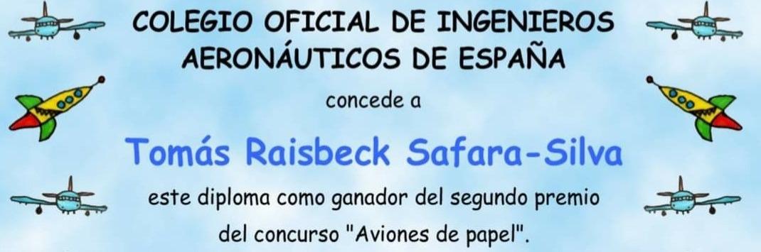 """Nuestro alumno Tomás Raisbeck, de 6 años, ha ganado el 2º premio del concurso """"Aviones de papel"""""""