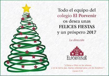 Felicitación navideña del equipo del colegio El Porvenir