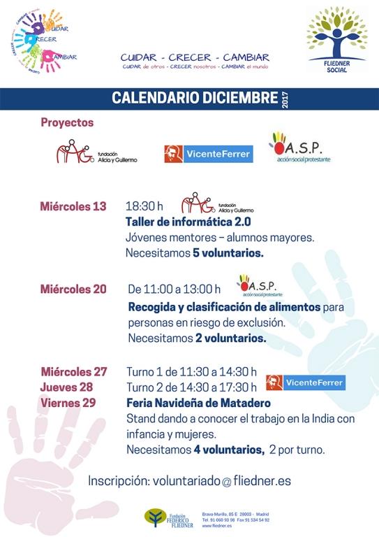 Calendario de diciembre CUIDAR-CRECER-CAMBIAR