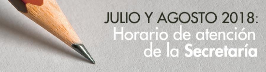 Horario de Secretaría en julio y agosto 2018