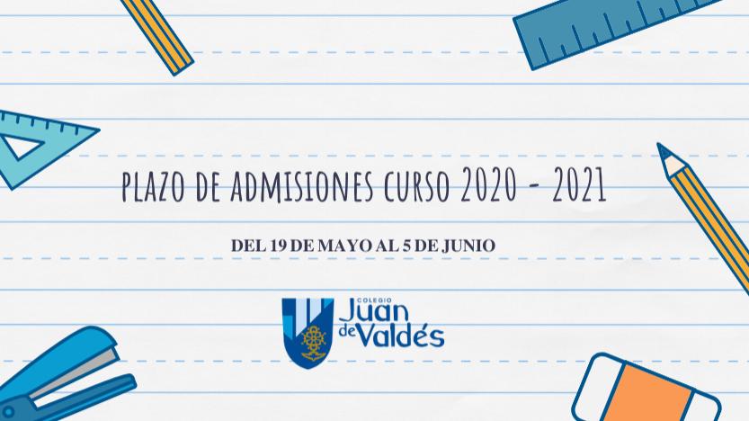 Admisiones curso 2020 - 2021. ¡Bienvenidas, familias!