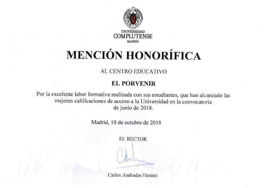 Mención honorífica UCM a El Porvenir