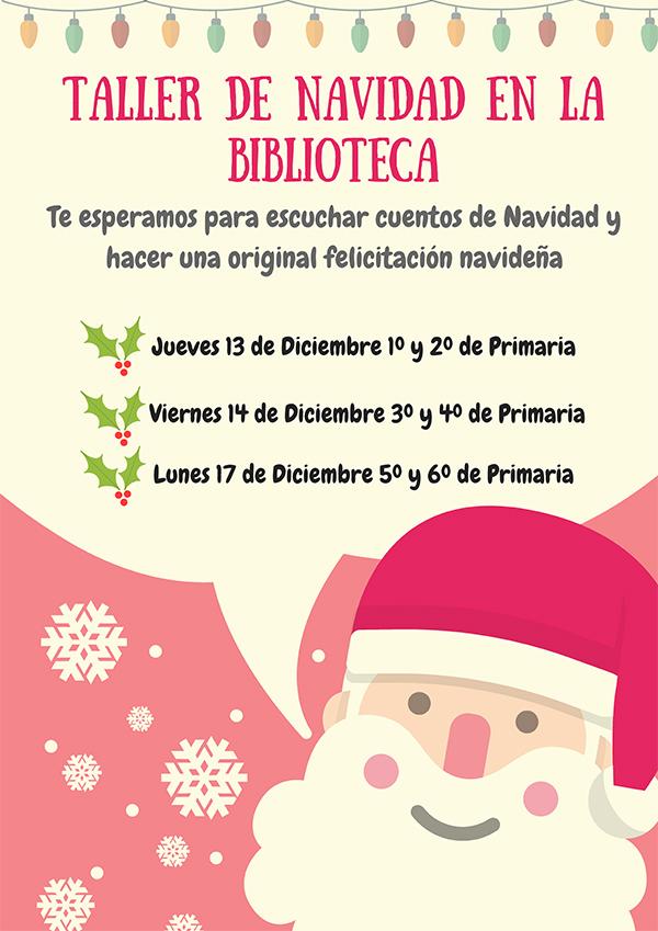 Cartel talleres Navidad Biblioteca Escolar