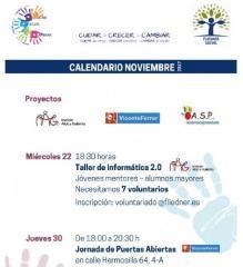 Ya está disponible el calendario de proyectos de voluntariado de noviembre