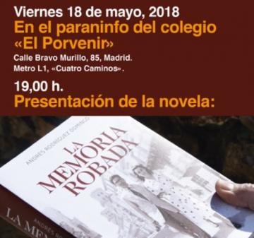 """La novela """"La memoria robada"""" se presenta en Madrid el próximo 18 de mayo"""