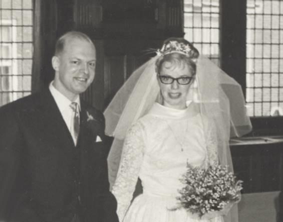 Foto de la boda entre Antonio Voerman y Gea van Haselen (1965)