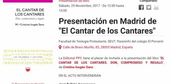 """Presentación del libro """"Cantar de los Cantares. Don, compromiso y regalo"""" (Cristina Inogés)"""